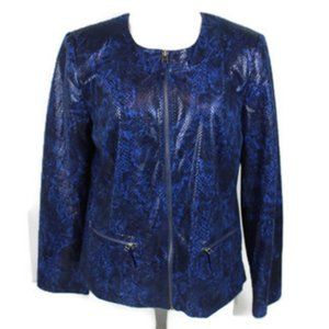JM Collection Snakeskin Print Full Zip Jacket